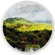 Round Beach Towel featuring the digital art Oahu Landscape by Kai Saarto