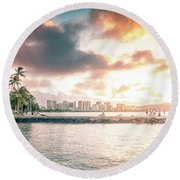 Oahu Sunrise Round Beach Towel