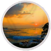 Round Beach Towel featuring the photograph Oahu Sunset Hawaii by Michael Rucker