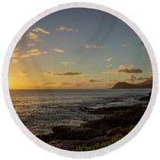 Round Beach Towel featuring the photograph Oahu Sunset by RKAB Works