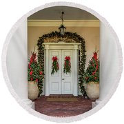 Round Beach Towel featuring the photograph Oak Alley Plantation Doors by Paul Freidlund