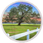 Oak Alley Signature Tree At Sunset Round Beach Towel
