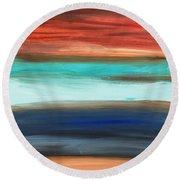 Oak Creek #28 Southwest Landscape Original Fine Art Acrylic On Canvas Round Beach Towel