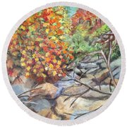 Oak Creek Canyon Round Beach Towel