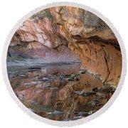 Round Beach Towel featuring the photograph Oak Creek Reflections - Sedona, Az by Sandra Bronstein