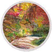 Oak Creek West Fork Round Beach Towel by Eric Samuelson