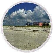 Oak Island Beach Houses Round Beach Towel