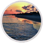 Oak Island Pastel Sunset Round Beach Towel