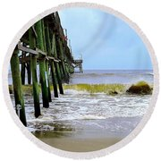 Oak Island Pier Before H.matthew Round Beach Towel