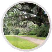 Oak Over The Trail Round Beach Towel