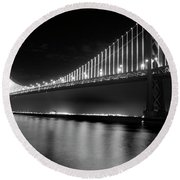 Round Beach Towel featuring the photograph Oakland Bay Bridge At Night by Darcy Michaelchuk