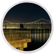 Oakland Bay Bridge By The Pier In San Francisco At Night Round Beach Towel