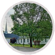 Round Beach Towel featuring the photograph Oakland Christian Church by Cricket Hackmann