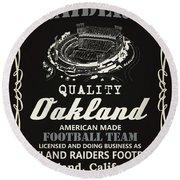 Oakland Raiders Whiskey Round Beach Towel by Joe Hamilton