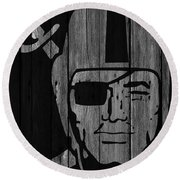 Oakland Raiders Wood Fence Round Beach Towel