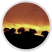 Round Beach Towel featuring the photograph Oaks On Hill At Sunset by Jim and Emily Bush