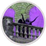 Oasis Angel #6112_b Balcony View Round Beach Towel by Barbara Tristan