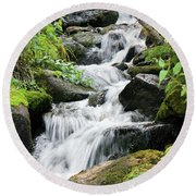 Round Beach Towel featuring the photograph Oasis Cascade by David Chandler
