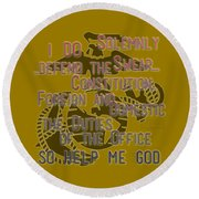 Round Beach Towel featuring the mixed media Oath by TortureLord Art