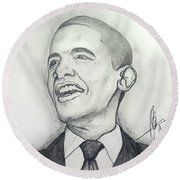 Obama 3 Round Beach Towel by Collin A Clarke