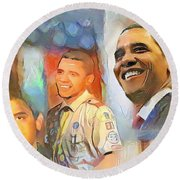 Obama - From Boy Scout To President Round Beach Towel