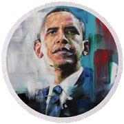 Obama Round Beach Towel by Richard Day