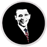 Obama Round Beach Towel by War Is Hell Store