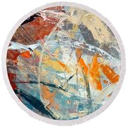 Objective Of Light And Dark Painted Surface Round Beach Towel by Lisa Kaiser