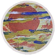 Obscure Orange Abstract Round Beach Towel