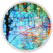 Obscured In Blue Round Beach Towel