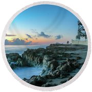 Observation Tower At Dawn Round Beach Towel