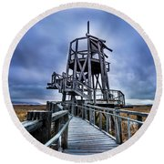 Observation Tower - Great Salt Lake Shorelands Preserve Round Beach Towel by Gary Whitton