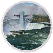 Observation Tower In Niagara Falls Round Beach Towel