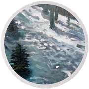 Observing Snow Round Beach Towel by Gary Coleman