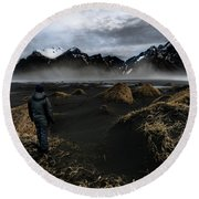 Observing The Beauty Of Iceland Round Beach Towel