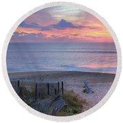 Obx Sunrise Round Beach Towel by Lori Deiter
