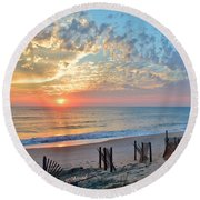 Obx Sunrise September 7 Round Beach Towel