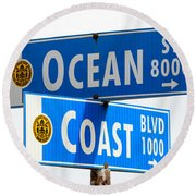Ocean And Coast Round Beach Towel