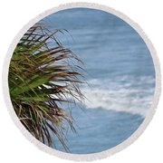 Ocean And Palm Leaves Round Beach Towel by Kathy Long