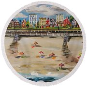 Ocean Ave By John Williams Round Beach Towel by John Williams