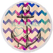 Ocean Beach Anchor Round Beach Towel