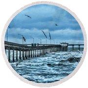 Ocean Beach Fishing Pier Round Beach Towel