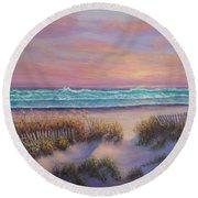 Ocean Beach Path Sunset Sand Dunes Round Beach Towel