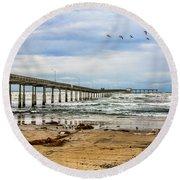 Ocean Beach Pier Fishing Airforce Round Beach Towel
