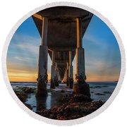 Ocean Beach Pier Round Beach Towel