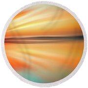 Ocean Beach Sunset Abstract Round Beach Towel