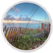 Round Beach Towel featuring the photograph Ocean Blues by Debra and Dave Vanderlaan