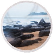Round Beach Towel featuring the photograph Ocean Calm  by Parker Cunningham