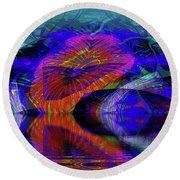 Round Beach Towel featuring the digital art Ocean Cavern by Visual Artist Frank Bonilla