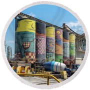 Round Beach Towel featuring the photograph Ocean Cement by Ross G Strachan